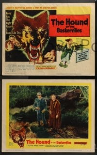3k209 HOUND OF THE BASKERVILLES 8 LCs 1959 Peter Cushing as Sherlock Holmes, blood-dripping dog tc art!