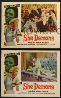 3k664 SHE DEMONS 4 LCs 1958 beautiful Irish McCalla & others try to escape the half-beast half-woman!