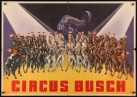 3r046 CIRCUS BUSCH 33x47 German circus poster 1940s art of many performing horses and an elephant!