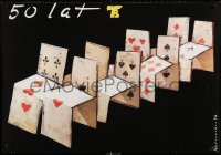 3r059 50 LAT TB Polish 27x38 1994 Mieczyslaw Gorowski art of poker cards in different shapes!
