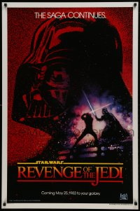 3r883 RETURN OF THE JEDI dated teaser 1sh 1983 George Lucas' Revenge of the Jedi, Drew Struzan art!