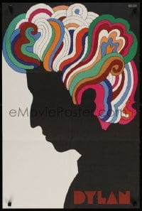3r078 DYLAN 22x33 music poster 1967 colorful silhouette art of Bob by Milton Glaser!
