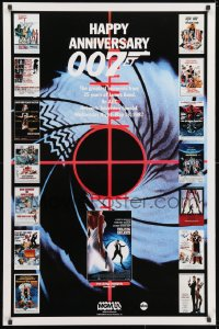 3r052 HAPPY ANNIVERSARY 007 tv poster 1987 25 years of James Bond, cool image of many 007 posters!