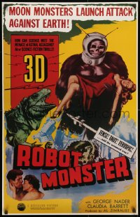 3r054 ROBOT MONSTER tv poster R1981 3-D, the worst movie ever, great wacky art!