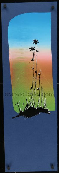 3r040 UNKNOWN ART PRINT 12x36 art print 1960s cool art of flowers and colorful sky!