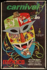 3r020 CARNIVAL IN MEXICO 24x35 Mexican travel poster 1960s art of a decorated mask!