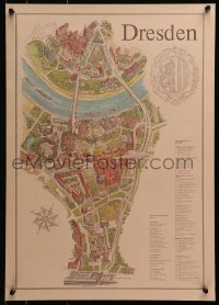 3r015 DRESDEN 2-sided 16x23 East German travel poster 1981 cool map of tourist attractions!