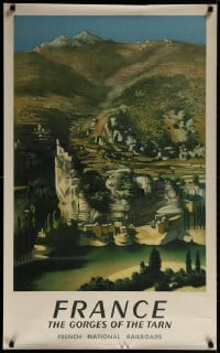 3r029 FRENCH NATIONAL RAILROADS 25x39 French travel poster 1952 Gorges of the Tarn!