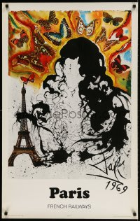 3r026 FRENCH NATIONAL RAILROADS 24x39 French travel poster 1969 Salvador Dali art of Paris!