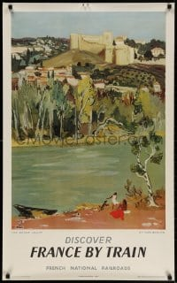 3r025 FRENCH NATIONAL RAILROADS 24x39 French travel poster 1954 great art of the Rhone valley!