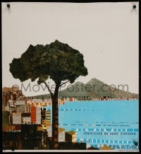 3r018 ALITALIA NAPLES TRIMMED 27x30 Italian travel poster 1970s gorgeous art of tree and city port!