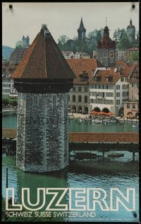 3r022 LUZERN 25x40 Swiss travel poster 1979 image of Lake Lucerne by E. Scagnet!