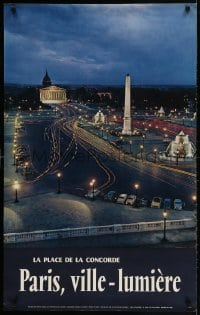 3r030 PARIS, VILLE-LUMIERE 24x39 French travel poster 1960s traffic on the Place de la Concorde at night!
