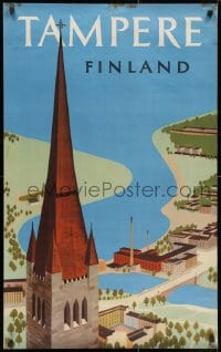 3r017 TAMPERE FINLAND 24x39 Finnish travel poster 1956 Cathedral and smokestacks by Mykkanen!