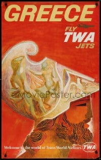 3r004 TWA GREECE 25x40 travel poster 1960s cool art of ancient Greek soldier by David Klein!