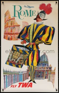 3r005 TWA ROME 25x40 travel poster 1960s David Klein art of colorful soldier beating drum!