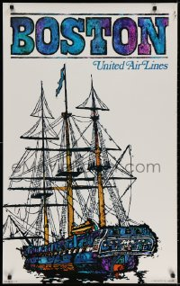 3r008 UNITED AIR LINES BOSTON 25x40 travel poster 1968 art of the U.S.S. Constitution by Jebary!