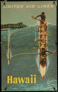 3r009 UNITED AIR LINES HAWAII 25x40 travel poster 1960s Galli art of people in outrigger canoe!