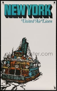 3r010 UNITED AIR LINES NEW YORK 25x40 travel poster 1967 cool Jebray art of ferry!