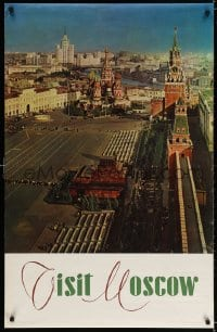 3r021 VISIT MOSCOW 27x42 Russian travel poster 1960s cool image of Red Square overlooking Lenin's Tomb!