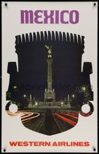 3r011 WESTERN AIRLINES MEXICO 25x39 travel poster 1960s Angel of Independence in Mexico City!