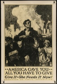 3r042 AMERICA GAVE YOU ALL YOU HAVE TO GIVE 28x42 WWI war poster 1917 workers & smokestacks by Taylor!