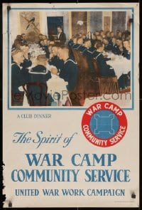 3r043 UNITED WAR WORK CAMPAIGN 20x30 WWI war poster 1918 the spirit of war camp community service!