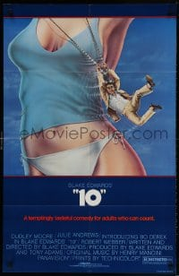 3t011 '10' 26x40 1sh 1979 Blake Edwards, Alvin art of Dudley Moore, sexy Bo Derek, no border design