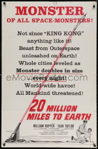 3t001 20 MILLION MILES TO EARTH style B 1sh 1957 monster of all space-monsters, not since King Kong!