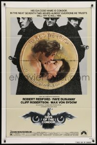 3t002 3 DAYS OF THE CONDOR 1sh 1975 CIA analyst Robert Redford & Faye Dunaway!