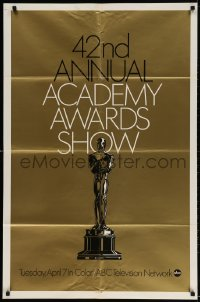 3t004 42ND ANNUAL ACADEMY AWARDS foil 1sh 1970 wonderful image of the Oscar statue!