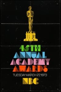 3t005 45TH ANNUAL ACADEMY AWARDS 1sh 1973 NBC, great artwork of the Oscar statuette!