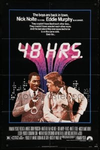 3t006 48 HRS. 1sh 1982 Nick Nolte is a cop who hates Eddie Murphy who is a convict!