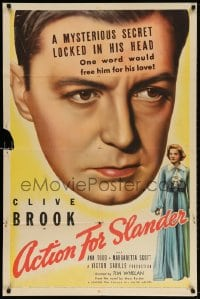 3t014 ACTION FOR SLANDER 1sh 1938 art of Clive Brook + Ann Todd on playing card!
