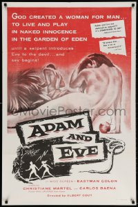 3t015 ADAM & EVE 1sh 1958 sexiest art of naked man & woman in the Mexican Garden of Eden!