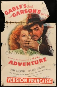 3t016 ADVENTURE style D 1sh 1945 close up art of Clark Gable shushing pretty Greer Garson!