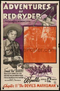 3t018 ADVENTURES OF RED RYDER chapter 11 1sh 1940 Don Barry with Tommy Cook as Little Beaver!