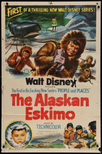 3t022 ALASKAN ESKIMO 1sh 1953 Walt Disney, art of arctic natives, People & Places series!