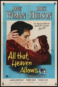 3t030 ALL THAT HEAVEN ALLOWS 1sh 1955 close up romantic art of Rock Hudson kissing Jane Wyman!