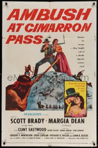 3t033 AMBUSH AT CIMARRON PASS 1sh 1958 Scott Brady defends Margia Dean from Apache savages!