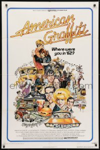 3t034 AMERICAN GRAFFITI 1sh 1973 George Lucas teen classic, Mort Drucker montage art of cast!