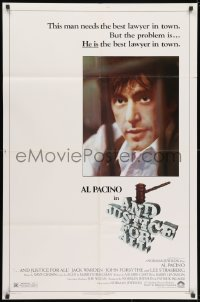 3t038 AND JUSTICE FOR ALL 1sh 1979 directed by Norman Jewison, Al Pacino is out of order!