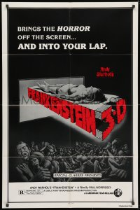 3t040 ANDY WARHOL'S FRANKENSTEIN 1sh R1980s cool 3D art of near-naked girl coming off screen!