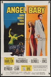 3t041 ANGEL BABY 1sh 1961 full-length George Hamilton standing with sexiest Salome Jens!