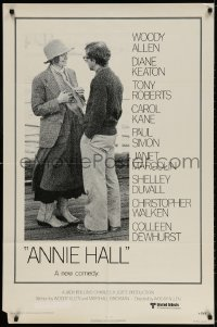 3t044 ANNIE HALL revised 1sh 1977 full-length Woody Allen & Diane Keaton, a new comedy!