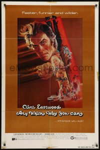 3t046 ANY WHICH WAY YOU CAN 1sh 1980 cool artwork of Clint Eastwood & Clyde by Bob Peak!