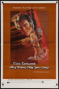 3t047 ANY WHICH WAY YOU CAN int'l 1sh 1980 cool artwork of Clint Eastwood & Clyde by Bob Peak!