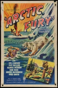 3t049 ARCTIC FURY 1sh 1949 cool art of polar bear attacking crashed bush pilot!
