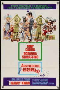 3t050 ARRIVEDERCI, BABY 1sh 1966 Tony Curtis is a ladykiller, great wacky Jack Davis art!