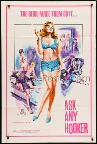 3t053 ASK ANY HOOKER 1sh 1970s the Devil made them do it, great super sexy artwork, x-rated!